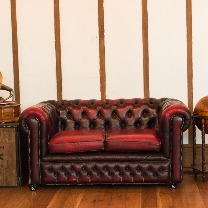 Oxblood Leather Chesterfield Two Seater Sofa - Aged