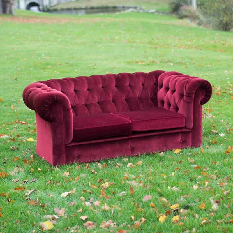 Red Velvet Chesterfield Two Seater Sofa
