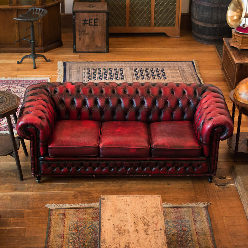 Oxblood Leather Chesterfield Three Seater Sofa - Aged