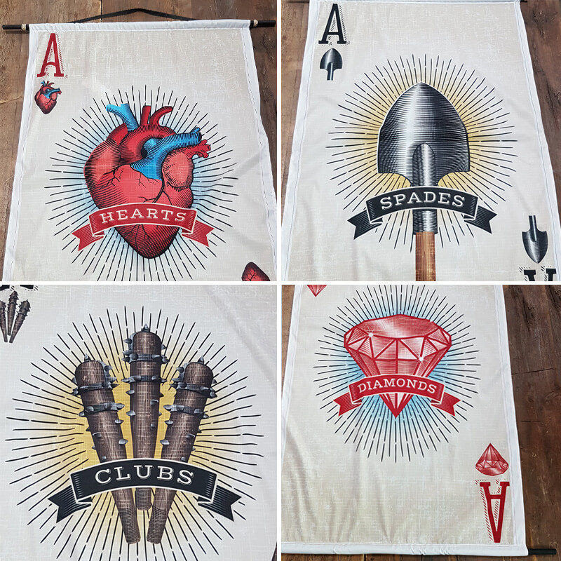 Tattoo Illustration Playing Card Banners set of 4