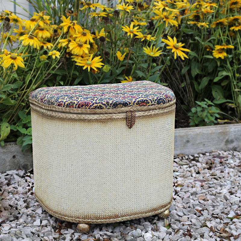 Laura Ashley Upholstered Lloyd Loom Ottoman