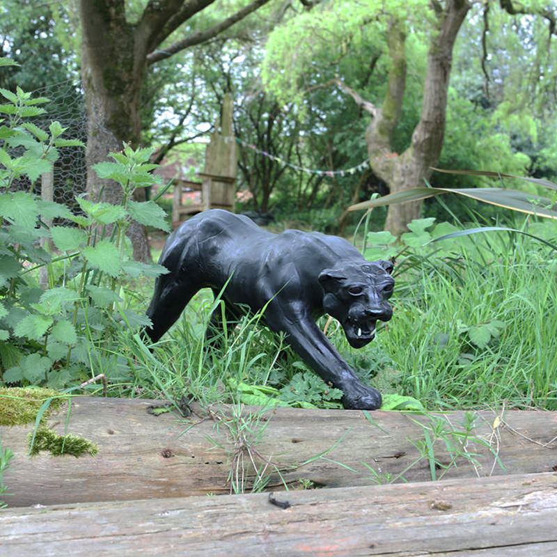 Black Leather Panther Statue 3