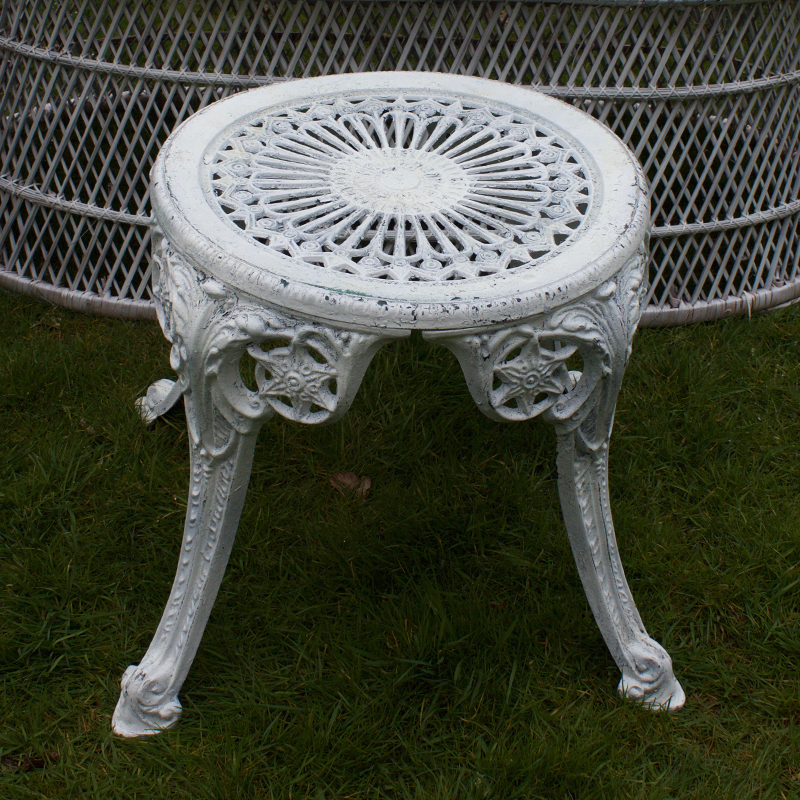 White Cast Iron Garden Stool