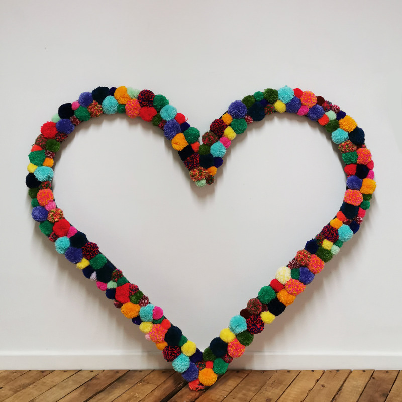 Colourful Pom-pom Heart Frame