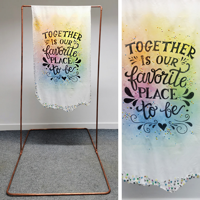 Copper Frame Backdrop and Together Message