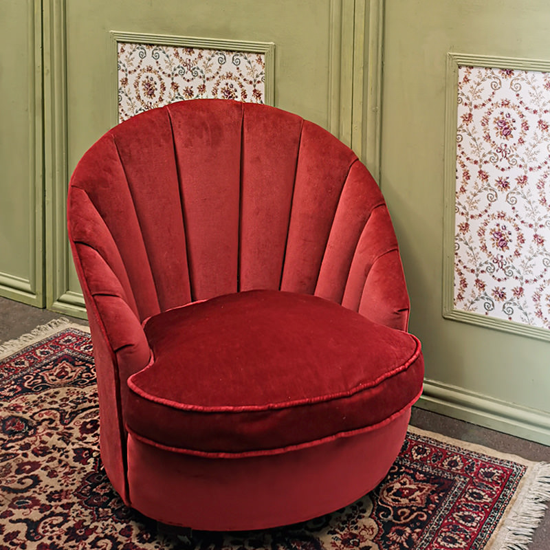 Dark Pink 1920s Style Shell Chair
