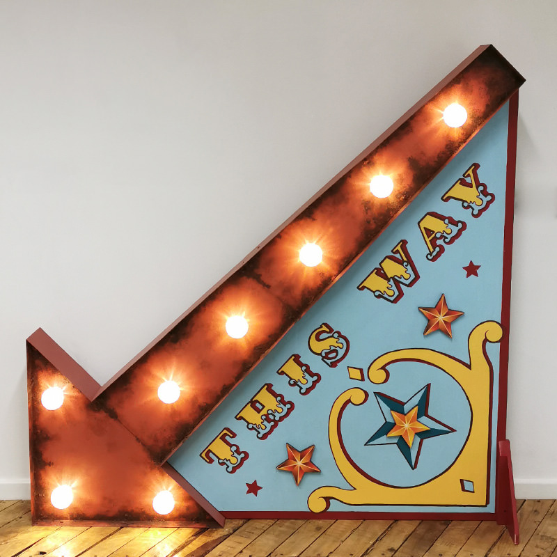 Giant Light Up Arrow and This Way Sign