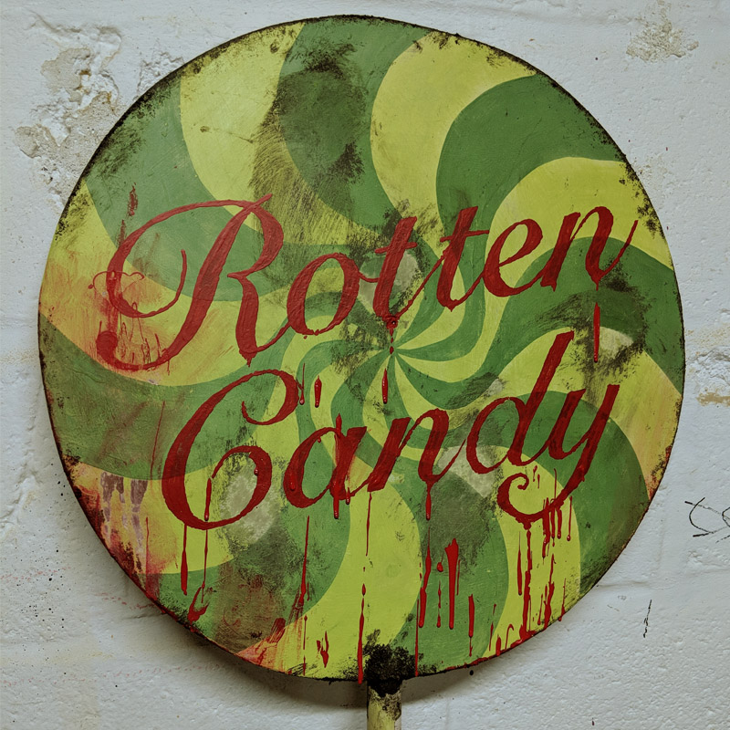 Rotten Candy Giant Lollipop Sign