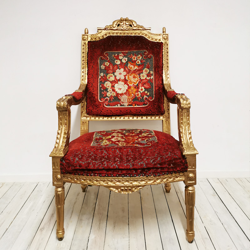 Embroidered Red Velvet Throne Chair