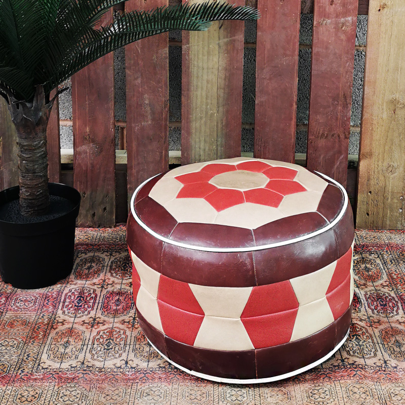 Patchwork Pouffe Earth Colours