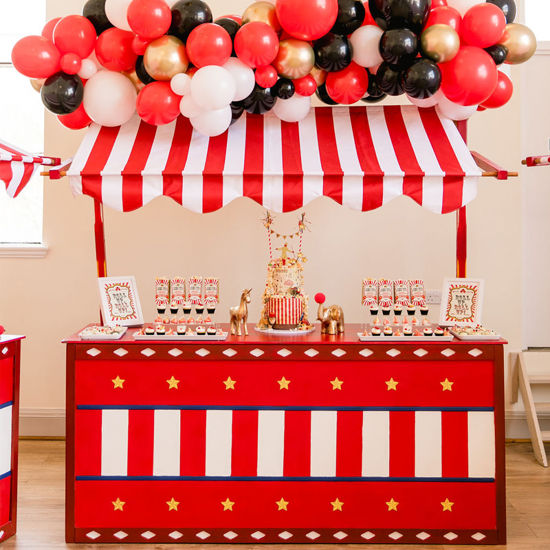 Red and White Circus Stall Bar