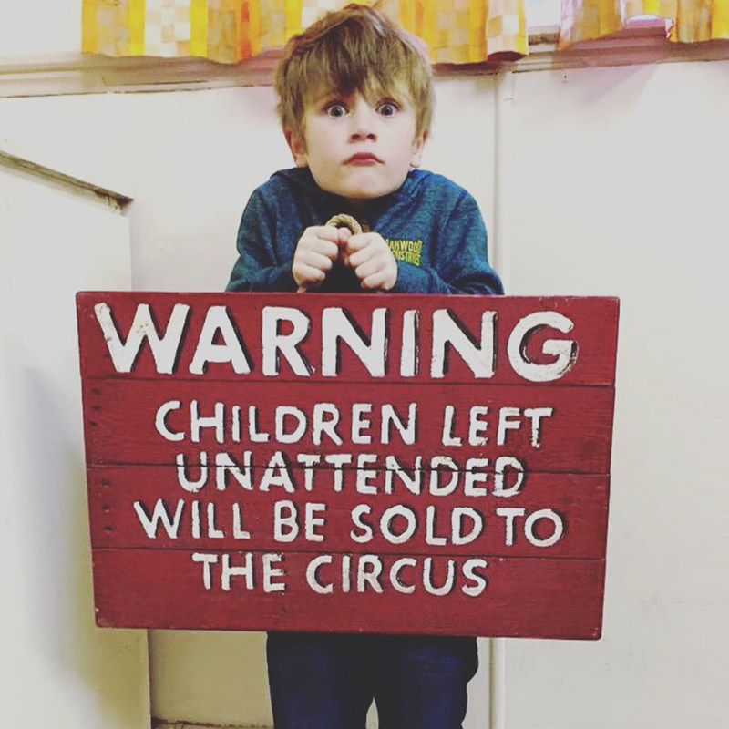 Warning Children Circus Sign