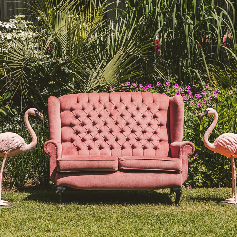 Pink Two Seater Wingback Sofa