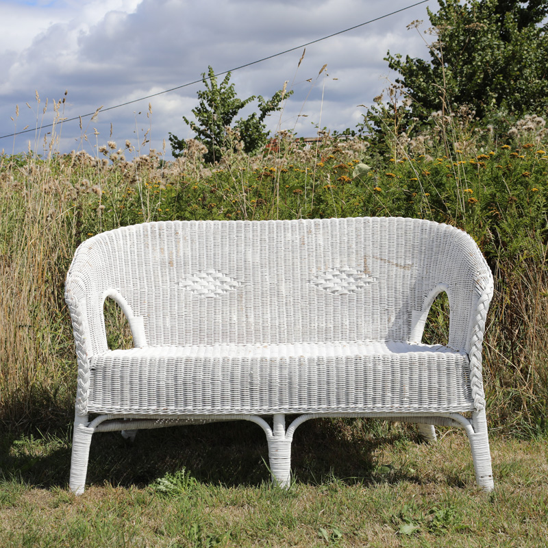 White Wicker Two Seater Sofa