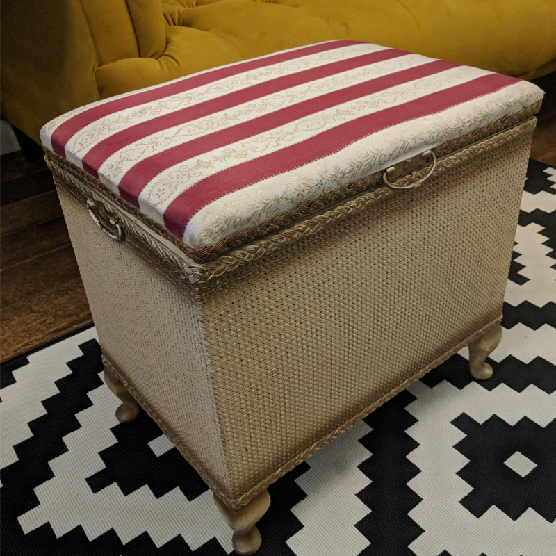 Lloyd Loom Red and White Striped Small Ottoman