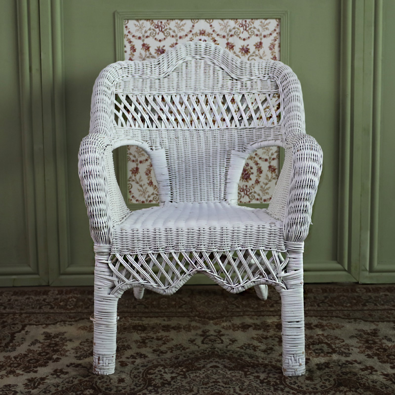 Fancy Shaped White Wicker Chair