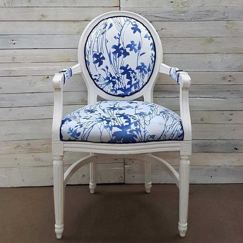 Willow Blue and White Queen Anne Chair