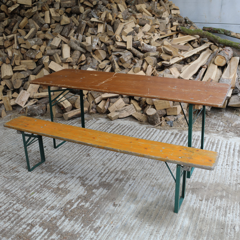 Dark Brown and Green Rustic Woodland Bench 3