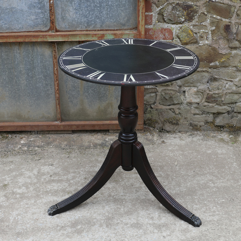 Black Clock Tripod Table