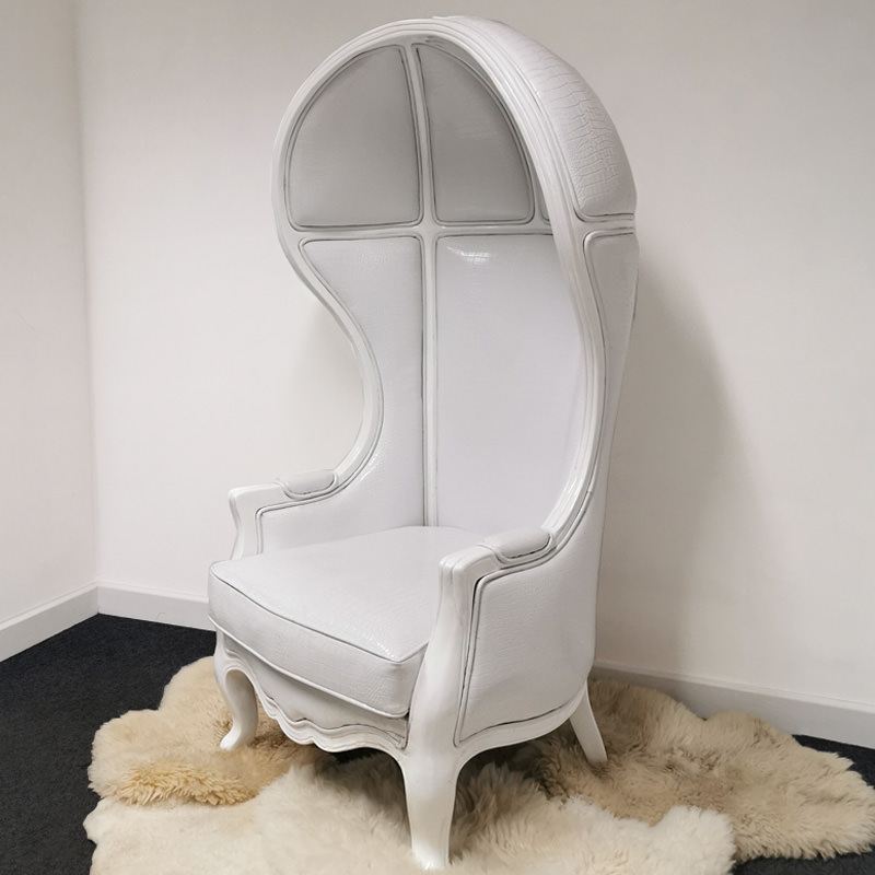 White Hooded Porter Chair