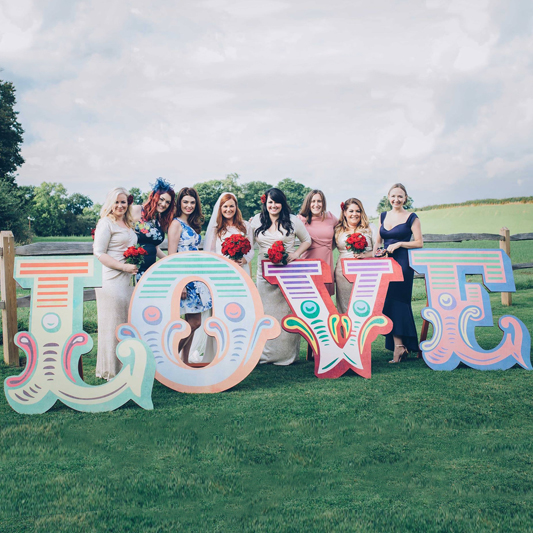 Carnival Coloured LOVE Freestanding Wooden Letters