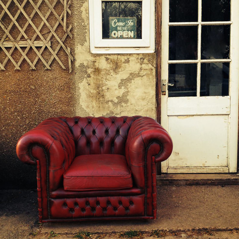 Oxblood Leather Chesterfield Club Chair - Aged