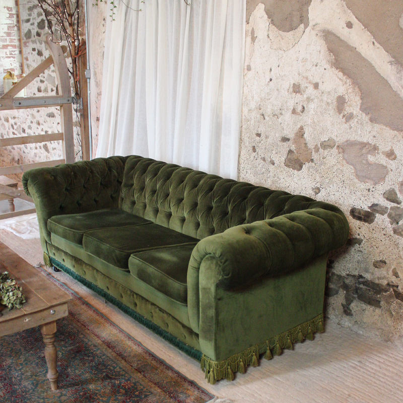 Green Velvet Chesterfield Three Seater Sofa