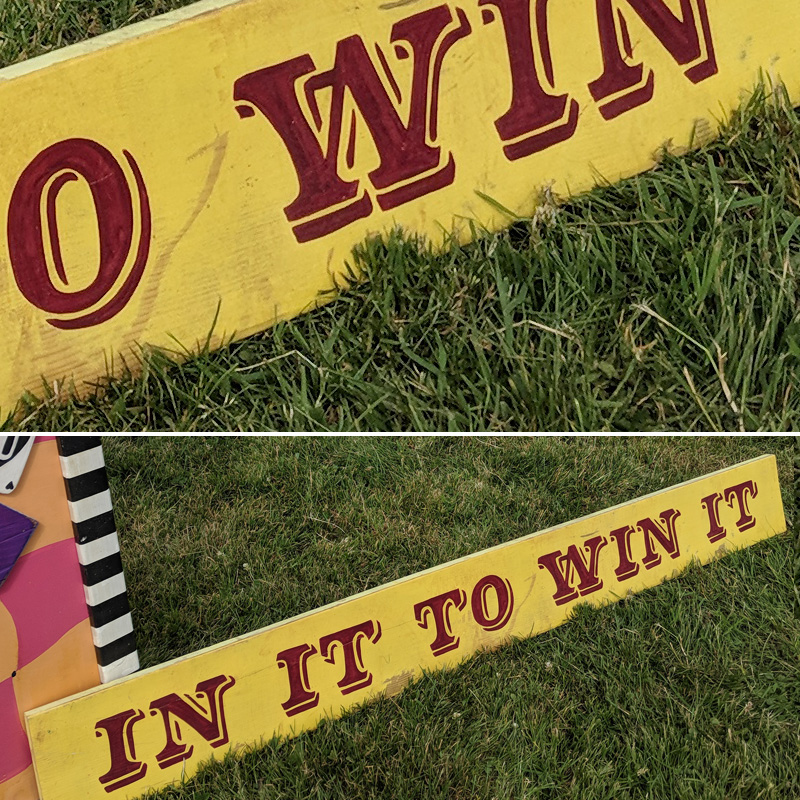 In It To Win It Funfair Sign