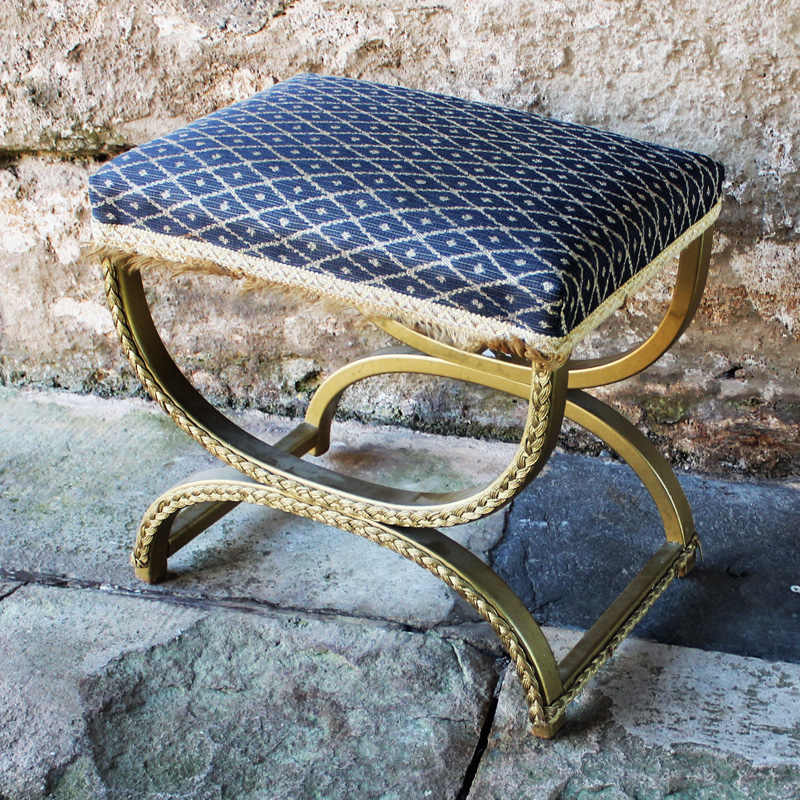 Royal Blue and Gold Boudoir Stool
