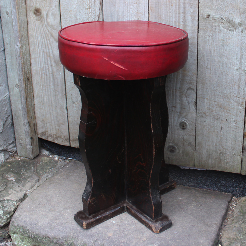 Red Leather Top Pub Stool