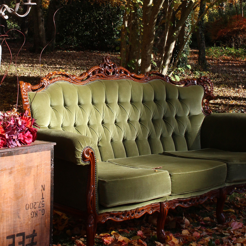 Olive Green Emily Three Seater Sofa with very slight damage