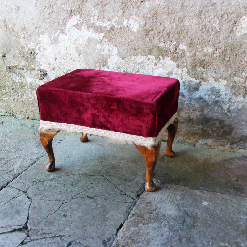 Red Velvet Footstool