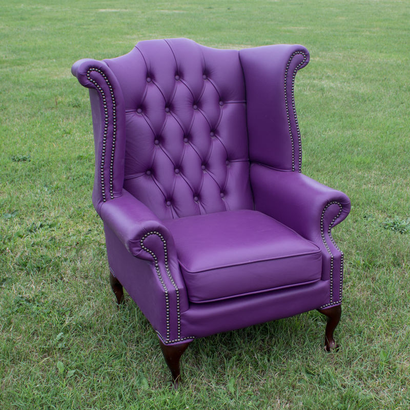 Purple Chesterfield Wingback Chair