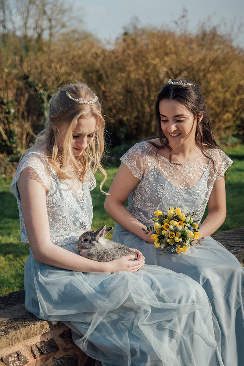 rabbit with brides models Bickleigh Castle photoshoot