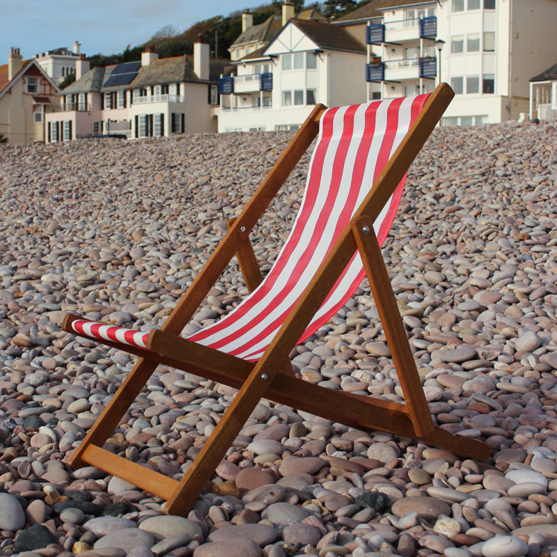 Traditional Red Striped Deckchair