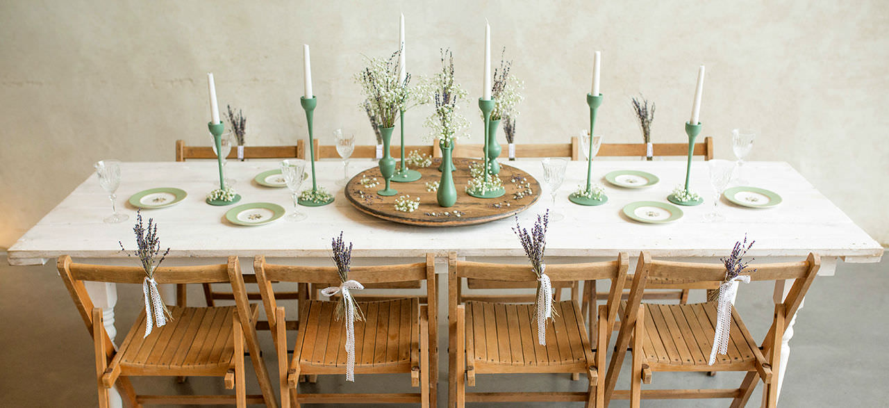 White Farmhouse Tables and Folding Chairs