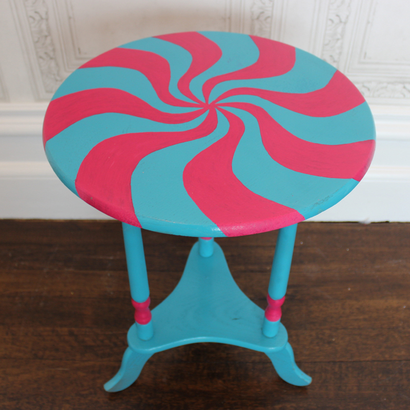 Turquoise and Pink Round Sweet Side Table