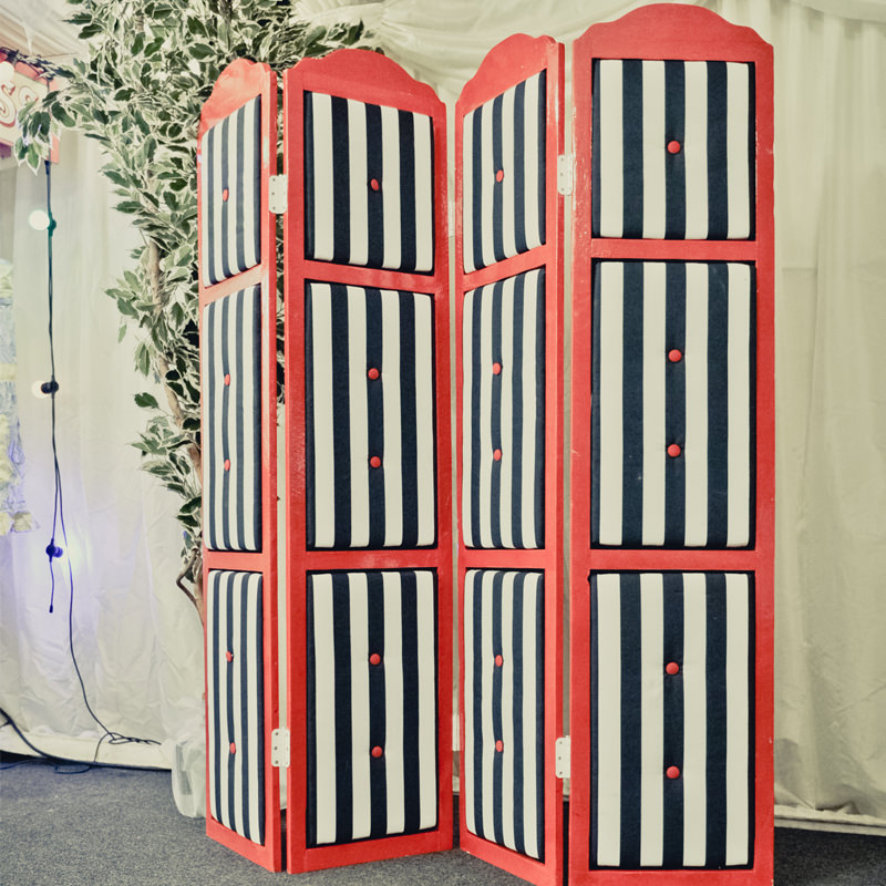 Black & White Striped Vanity Screen