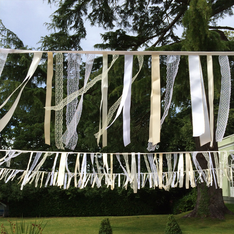 White & Cream Ribbon Bunting 5m  2