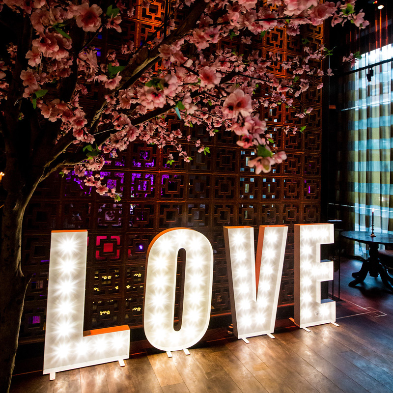 Illuminated White LOVE Letters